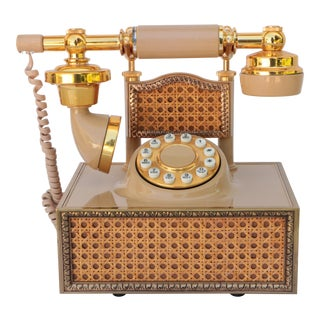 Vintage Golden Cane Wicker Telephone For Sale