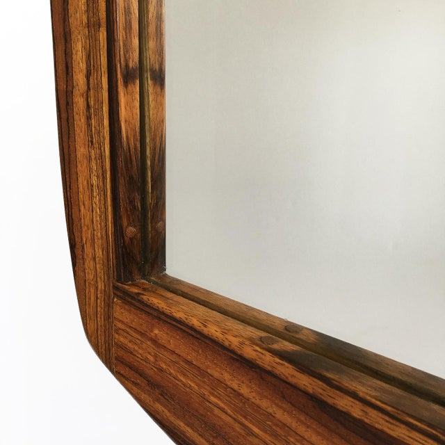 Studio Craft Movement Carved Zebrawood Standing Floor Mirror For Sale - Image 12 of 13