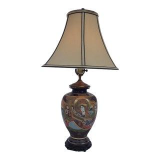 Vintage Japanese Moriage Satsuma Figural Lamp