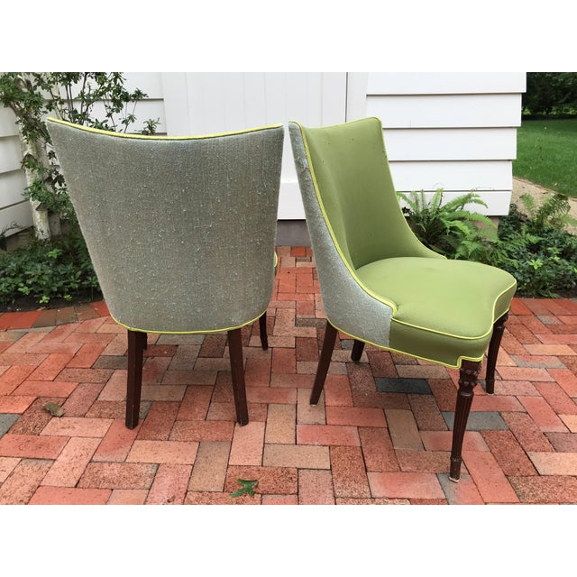 Vintage Apple Green Upholstered Dining Chairs - a Pair For Sale - Image 4 of 10