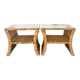 20th Century Woven Rattan Glass Top Side Tables - a Pair For Sale