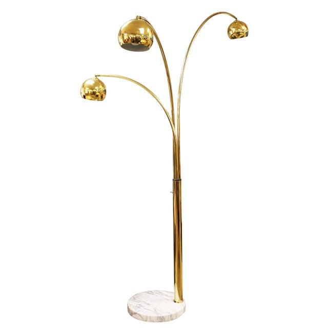 Mid Century Modern 3 Arm Brass Articulating Arc Floor Lamp On White