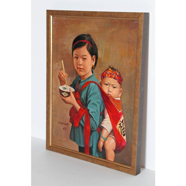 Turquoise Chinese Oil Painting of Young Girl Carrying Baby For Sale - Image 8 of 12
