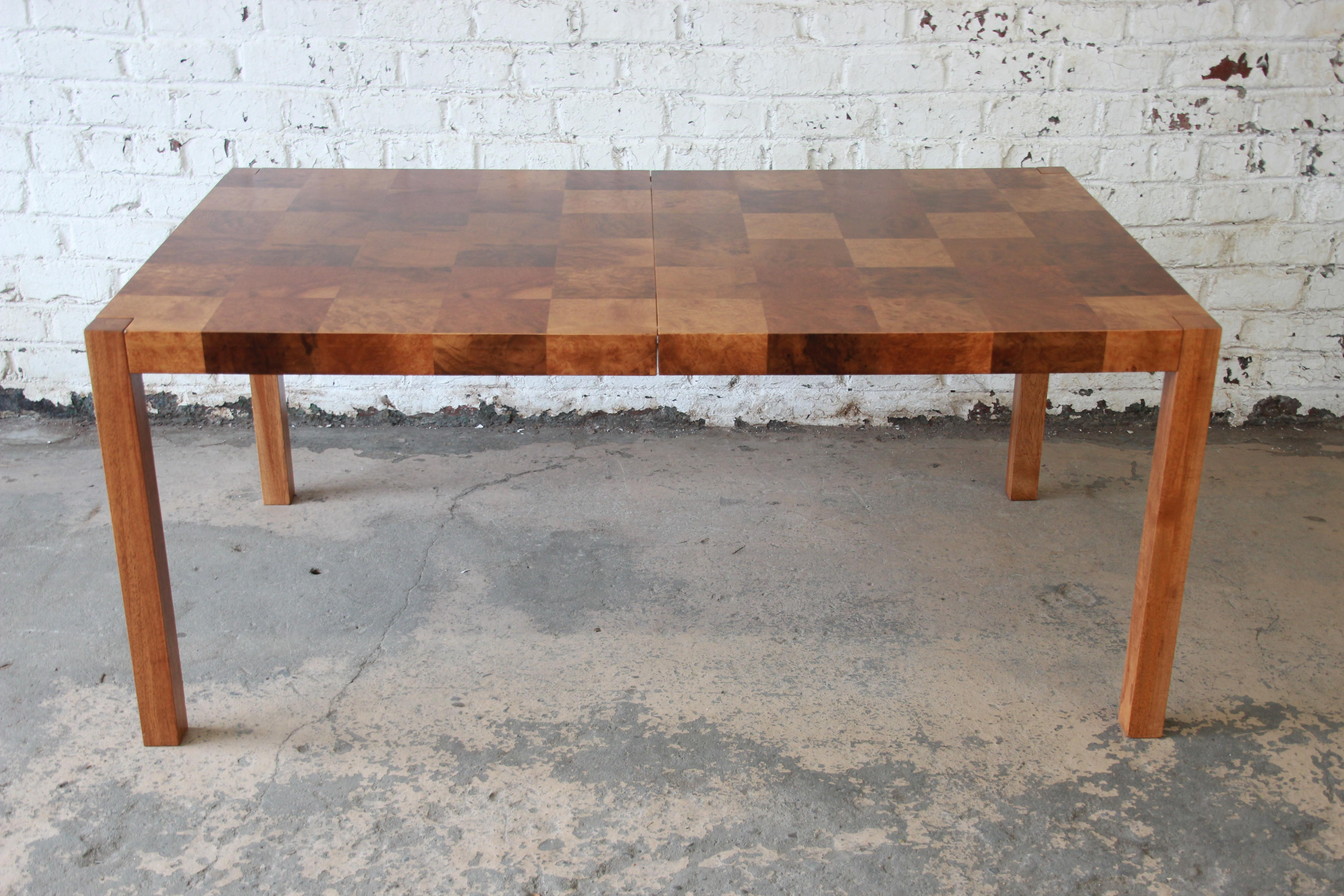 Milo Baughman Patchwork Burl Wood Parsons Extension Dining Table   Image 6  Of 11