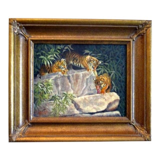 Beverly Abbott Florida Artist Fine Vintage Oil Painting of Tigers For Sale