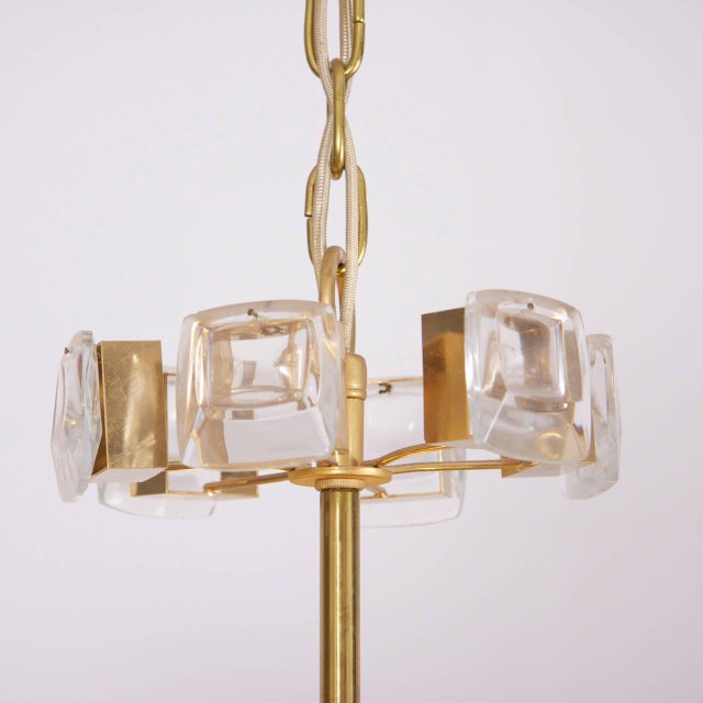 Palwa Glamorous Palwa Gilded Brass and Glass Jewel Chandelier For Sale - Image 4 of 8