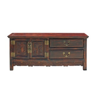 Chinese Distressed Brown Floral Motif Low Tv Console Table Cabinet For Sale