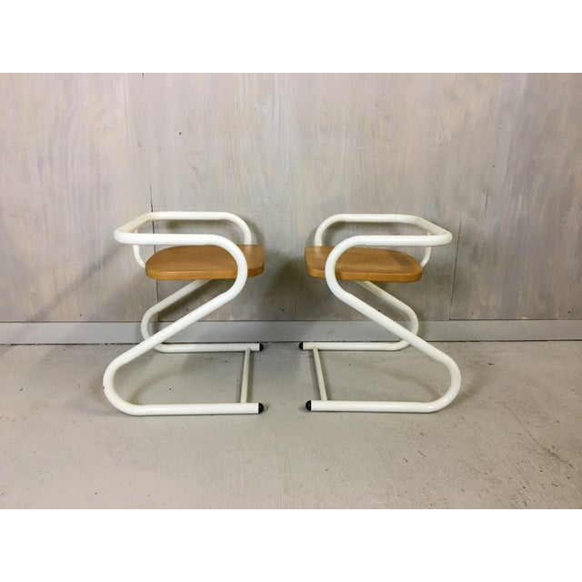 Pair of Mid Century Amisco Tubular Steel and Wood Chairs For Sale - Image 4 of 4