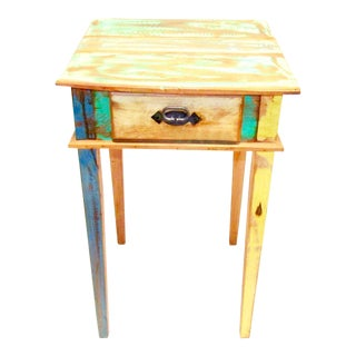 Save the Planet Antique Side Table Eco-Friendly Reclaimed Solid Wood For Sale