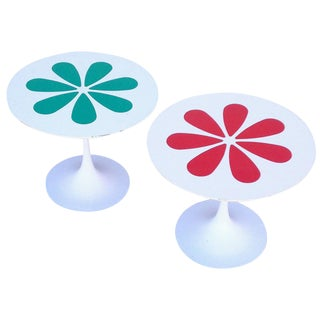 Burke Tulip Tables with Laminate Flower Motif For Sale