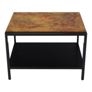 Vintage Mid Century John Stuart Abonized Walnut Base Copper Top Rectangular End Table For Sale
