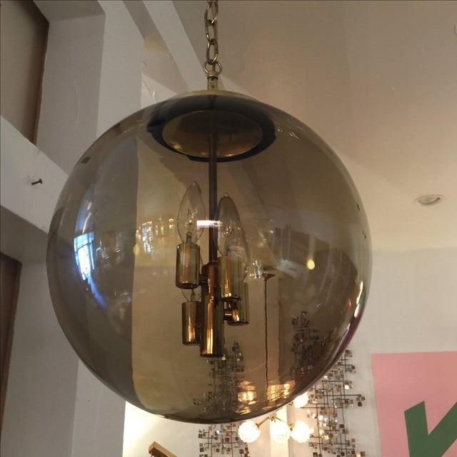 Limburg Circular Smoke Glass and Brass Chandelier - Image 3 of 7