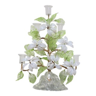20th Century Italian Venetian Blown Glass Botanical Candelabra For Sale