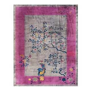 """Antique Chinese Art Deco Rug 8'10"""" X 11'3"""" For Sale"""