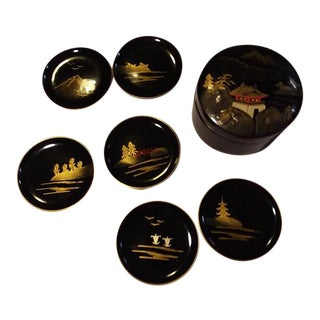 1960s Lacquered Gold & Black Japanese Tea Coasters With Box - Set of 7