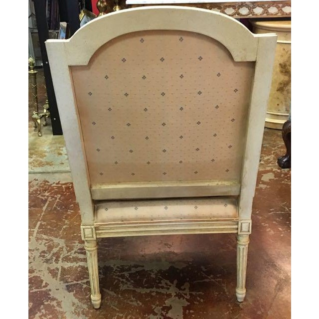 1970s Baker Furniture Louis XVI Style Scalamandre Fabric Fauteuil Chair For Sale - Image 5 of 13