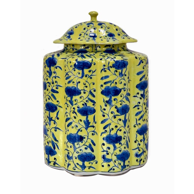 Chinoiserie Urn in Yellow and Blue With Lid For Sale - Image 13 of 13