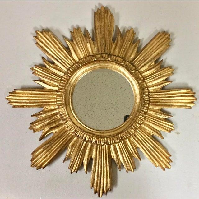 1960s Italian Florentine Sunburst Giltwood Mirror For Sale - Image 5 of 5