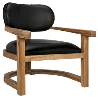 Kamaria Chair, Teak and Leather For Sale