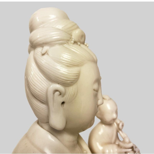 Early 19th Century Chinese Blanc De Chine Figure of Guanyin Qing, Early 19th Century For Sale - Image 5 of 10