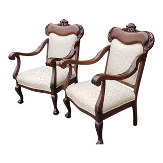 Pair Antique English Mahogany Edwardian Parlour / Parlor Upholstered Armchairs C1900 For Sale