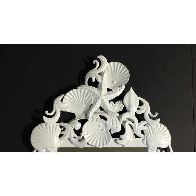 Mid-Century Modern White Sea Shell Mirror For Sale - Image 3 of 10