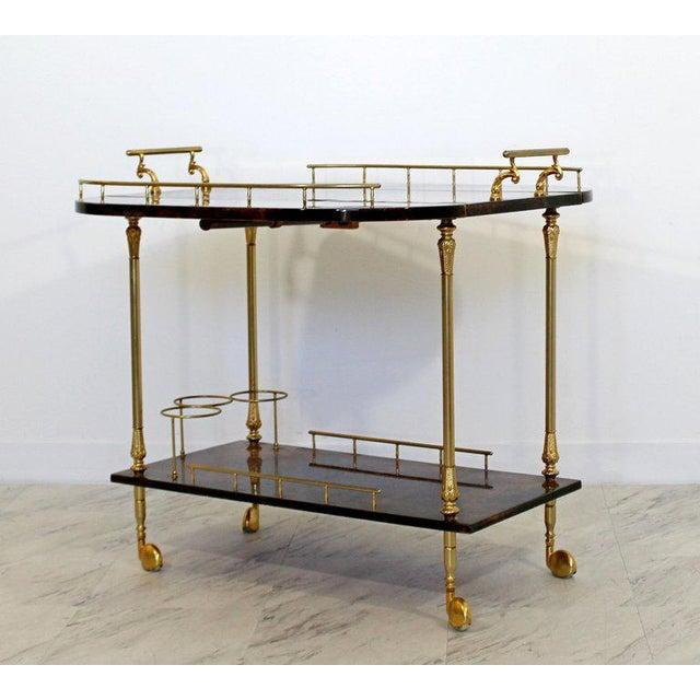 1950s 1950s Hollywood Regency Aldo Tura Goatskin Lacquered Brass Bar Cart For Sale - Image 5 of 10