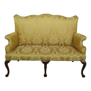George III Style Scalamandre Upholstered Walnut Loveseat Sofa For Sale