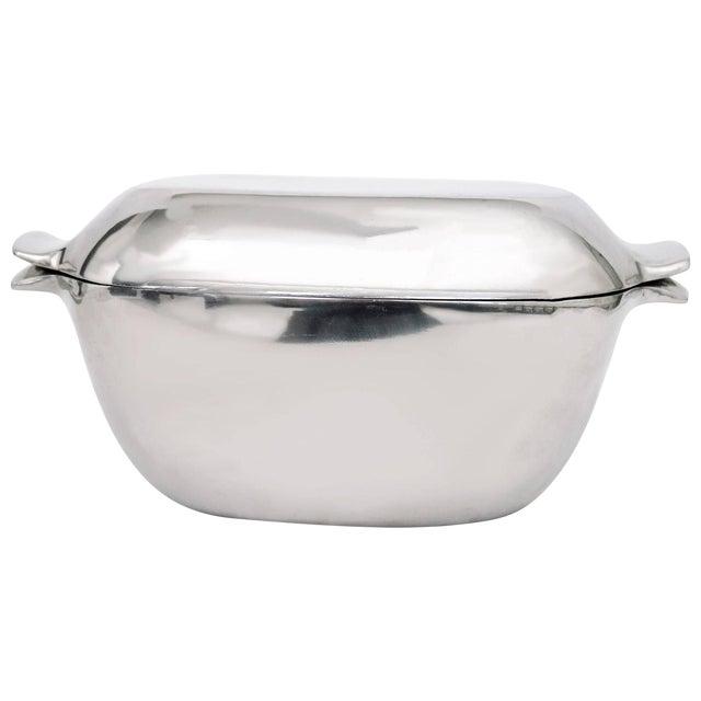 Vintage Minimal Stainless Steel Nambe Serving Bowl For Sale