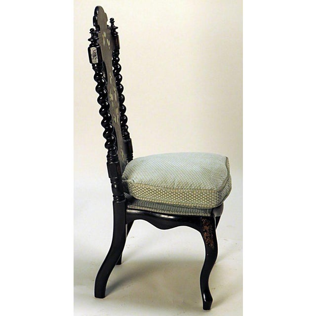 English Victorian black painted side chair circa 1880