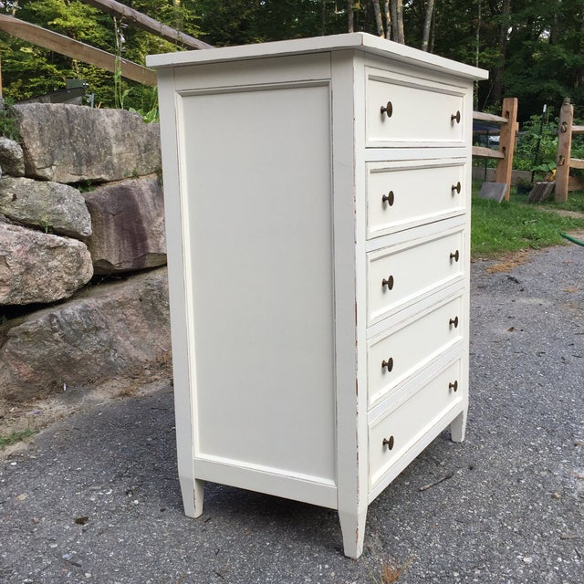 Country Crate & Barrel White Highboy Dresser For Sale - Image 3 of 10
