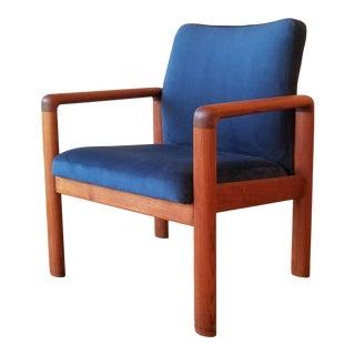 Schou Andersen Møbelfabrik Armchair in Blue Velvet For Sale