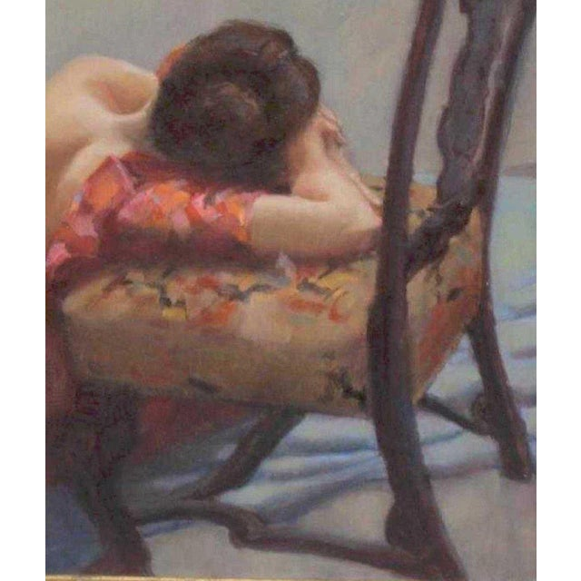 """American Oil on Canvas """"Repose"""" Signed J. Fairclough '61 For Sale - Image 4 of 7"""