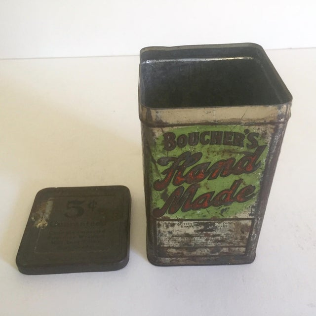 "Lithograph Vintage Early 1900's ""Boucher's Handmade"" Tobacco Tin Box For Sale - Image 7 of 11"