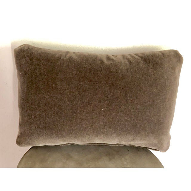 """A custom designer Maharam mohair 12""""x18"""" pillow cover. The brown/taupe Maharam fabric is 100% mohair from the Netherlands...."""