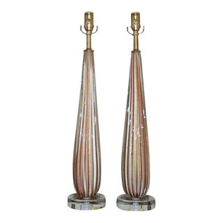 Vintage Murano Glass Lamps Lavender White For Sale