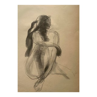 Vintage Charcoal Figurative Drawing For Sale