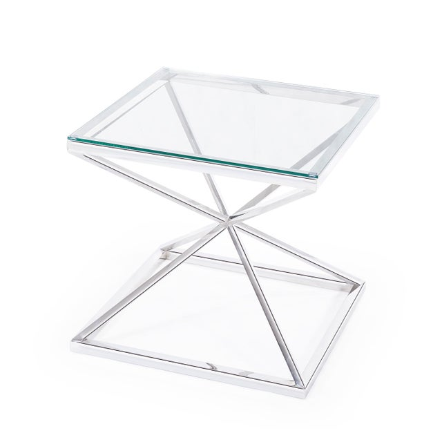 Modern Blink Home Silver Cross Side Table For Sale - Image 3 of 5