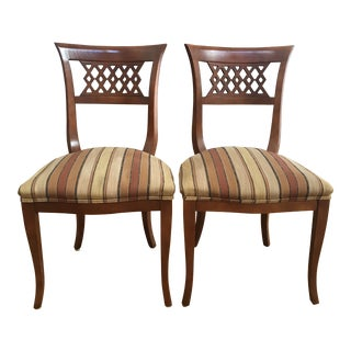 "Vintage ""Lace Back"" Biedermeier Style Side Chairs - a Pair For Sale"