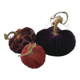 Plush Pumpkins Mod Purple Pumpkin Trio - Set of 3 For Sale