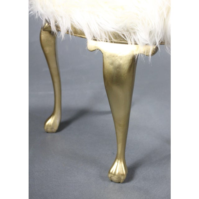 19th Century Gold Victorian Hollywood Regency Faux Mongolian Sheep Fur Foot Stools - a Pair For Sale - Image 4 of 7