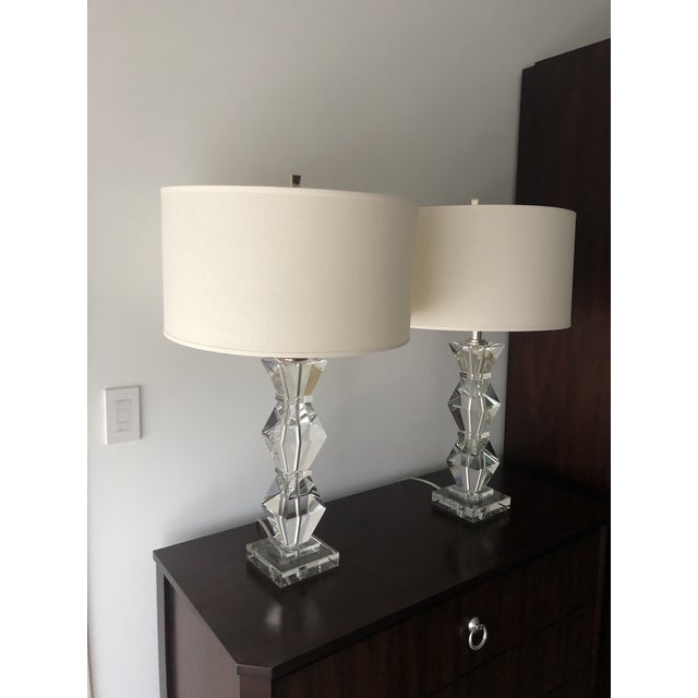 Modern Ethan Allen Geometric Crystal Lamps and Shades - a Pair For Sale - Image 3 of 5