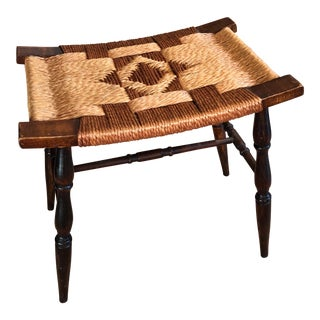 Vintage Woven Seat Rustic Stool