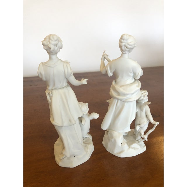 Late 19th Century Antique Parian Porcelain Bisque Musician Maidens -Pair For Sale - Image 5 of 11