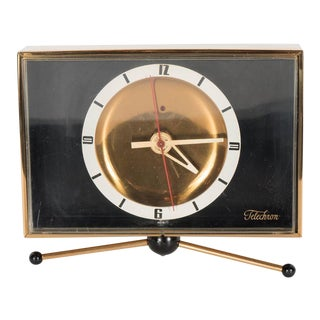 Sophisticated Mid-Century Modernist Brass Clock on Pedestal by Telechron For Sale