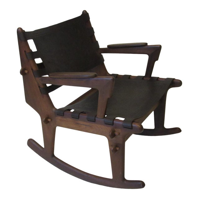 Angel Pazmino Mid Century Sculptural Rosewood Rocking Chair For Sale