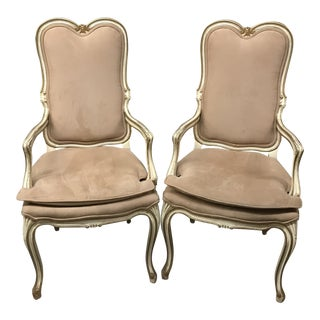 Vintage Mid Century Louis XV Pink Chairs- A Pair For Sale