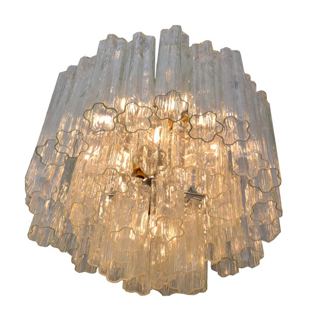Italian Round Three-Tier Tronchi Glass Chandelier For Sale - Image 4 of 8