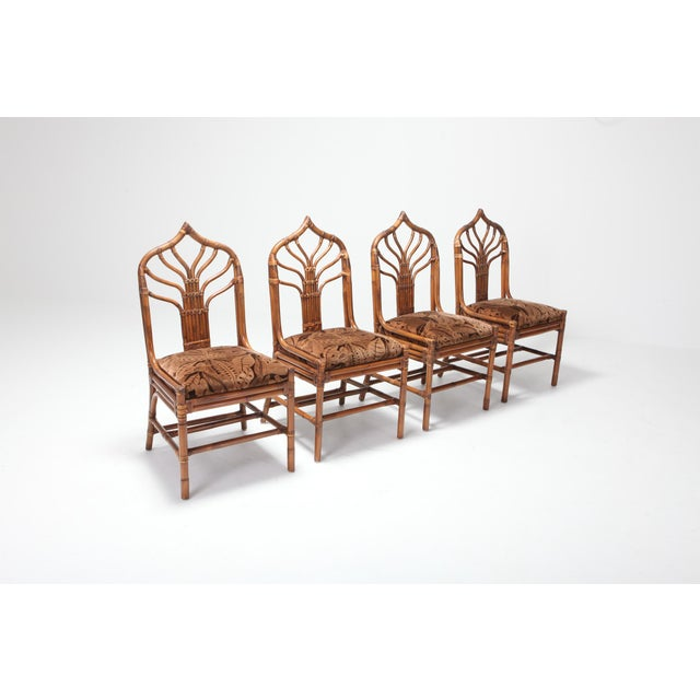 Regency Set of Italian Bamboo Dining Chairs With Floral Cushions For Sale - Image 11 of 13