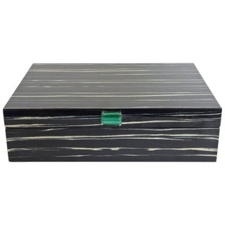 Amenity Box in Black and White Macassar With Malachite Knob For Sale